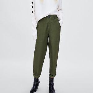 Zara TRF Khaki Green Cargo Style Trousers S NWT